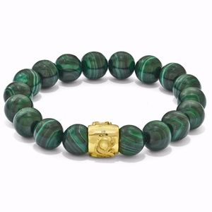 Green Malachite Gold-Tone Stretch Bracelet